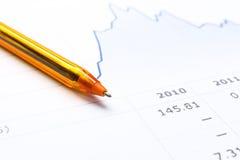 Stift und Finanzbericht Stockfotos