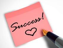 Stift und klebrige Anmerkung mit Herzen Lizenzfreie Stockfotos