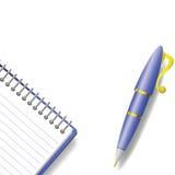 Stift und Notizbuch Stockfotografie