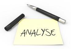 Stift- und Post-Itanalyse Lizenzfreies Stockfoto