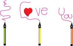 Stiftaufkleber für Liebe und glückliches Lizenzfreie Stockfotos