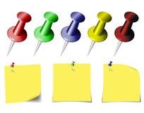 Stifte und Blätter für Anmerkungen Stockfotos