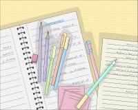 Stifte und Bleistifte auf Notizbuch in der Linie, Vektorillustration stock abbildung