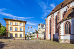 Stiftskirche Church Baden-Baden Germany and view to historic mus Royalty Free Stock Photos
