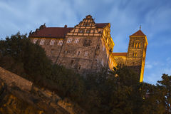 The Stiftskirche church in Quedlinburg, Germany, at night Stock Photography