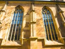 Stiftskirche ko?cielny dzwonkowy wierza w Stuttgart w Niemcy zdjęcie stock