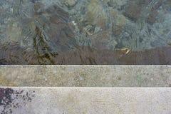 Stig ned konkret trappa in i vattnet, begreppsfotografi arkivfoto