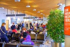 Stiga ombord för jul för LJU-terminal pre arkivfoton