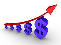 Stigande graf och dollar Royaltyfria Bilder