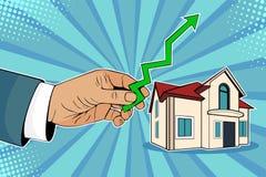 Stigande huspriser för popkonst, manhand med den gröna pilen upp och hus stock illustrationer
