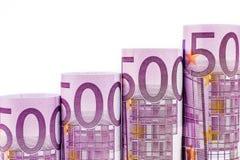 Stigande moment som göras av 500 eurosedlar Royaltyfria Bilder