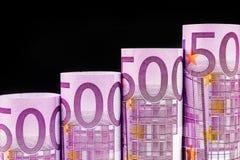 Stigande moment som göras av 500 eurosedlar Fotografering för Bildbyråer