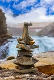 Stigfossen瀑布和观点-挪威 图库摄影