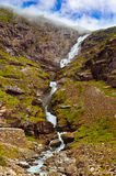 Stigfossen waterfall and Troll's Path - Norway Royalty Free Stock Photo