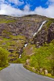 Stigfossen waterfall and Troll's Path - Norway Royalty Free Stock Photography