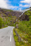 Stigfossen waterfall and Troll's Path - Norway Royalty Free Stock Image