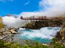 Stigfossen waterfall and viewpoint - Norway Royalty Free Stock Image