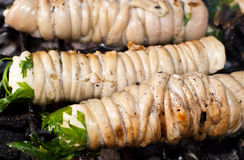 Stigghiole. Street food in Palermo. Stigghiole -typical street food in Palermo.  lamb, goat or pork bowels flavored with onions and parsley and grilled over Stock Photo