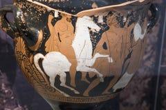 Stigning av Herakles till hjälten Grekisk lera arkivfoton
