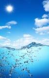 stigning för hav för luftunderkantbubblor arkivfoton