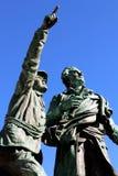 Stigning för monument för erövring för Chamonix toppmötehistoria första av den Mont Blanc toppmötet Royaltyfri Bild