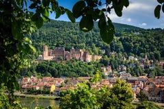 Stigning till banan för filosof` s med en sikt av den Heidelberg slotten, Heidelberg, Baden-Wurttemberg, Tyskland royaltyfria bilder