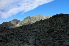 Stigning till det Rysy maximumet 2503 M, höga Tatras fotografering för bildbyråer