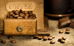 Stiill life with Antique coffee grinder Stock Photography