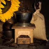 Stiill life with Antique coffee grinder Stock Image