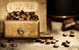Stiill life with Antique coffee grinder Royalty Free Stock Photo