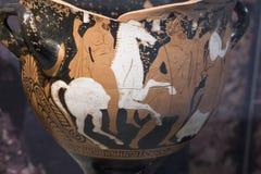 Stijgen van Herakles aan held Griekse klei Stock Fotografie