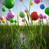 Stijgende ballons op een gebied van geïllustreerd gras 3d Stock Afbeelding