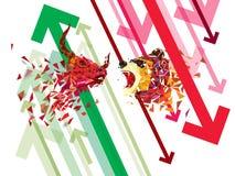 Stijgende en À la baisse symbolen op effectenbeurs vectorillustratie vectorforex of goederengrafieken, op abstracte achtergrond S royalty-vrije illustratie