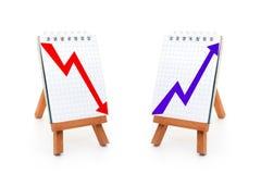 Stijgende en benedenwaartse grafieken Stock Fotografie