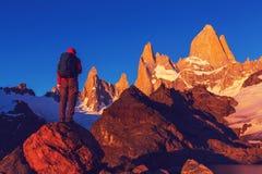 Stijging in Patagonië stock foto's