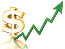Stijging van dollar Stock Foto's