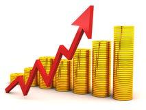 Stijging van rijkdomgrafiek Stock Foto's