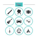 Stijgingsreis, het kamperen pictogrammen Visserij, toeristentent Royalty-vrije Stock Afbeeldingen