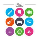 Stijgingsreis, het kamperen pictogrammen Visserij, toeristentent Royalty-vrije Stock Afbeelding