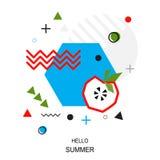 In stijl geometrisch patroon met appel, vectorillustratie Stock Afbeelding
