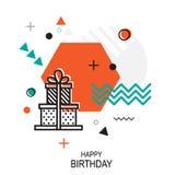 In stijl geometrisch patroon met Gift, vectorillustratie Stock Fotografie