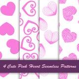 4 stijl leuk roze hart in wit naadloos patroon als achtergrond royalty-vrije illustratie