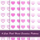 4 stijl leuk roze hart in wit naadloos patroon als achtergrond vector illustratie