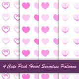 4 stijl leuk roze hart in wit naadloos patroon als achtergrond stock illustratie