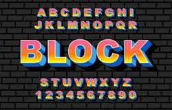 stijl van de de doopvontregenboog van het de jaren '80 retro alfabet, wijnoogst vector illustratie