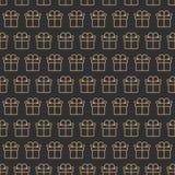 Stijl van de het patroon gouden rassenbarrière van de Kerstmisgift de naadloze op zwarte achtergrond Stock Afbeeldingen