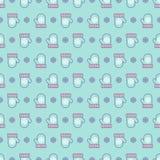 Stijl van de het patroon de vlakke kleur van de Kerstmisvuisthandschoen op achtergrond voor groetkaart Stock Foto's