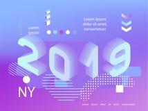 stijl van het neon de holografische Memphis van 2019 Banner met 2019 Aantallen vector nieuwe jaarillustratie stock illustratie