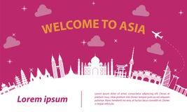 Stijl van het het oriëntatiepuntsilhouet van Azië haalt de hoogste beroemde op witte kromme, a over vector illustratie
