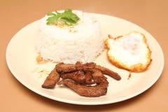 Stijl van Thailand braadde rijst, gebraden vlees met knoflook Stock Fotografie
